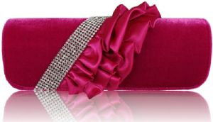 Kristina Pink Velvet and Ruched Satin Fabric Petite Clutch / Shoulder Evening / Prom Bag